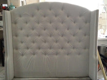 Load image into Gallery viewer, Tufted arched wingback headboard and bed frame in white velvet (queen size)