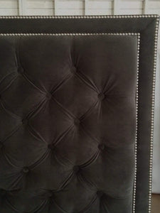 Diamond Tufted With Double Nailhead Border in Dark Grey Velvet(Queen, Extra Tall) - Handcrafted by Samantha