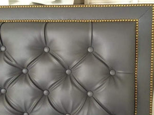 Diamond Tufted Grey Faux Leather With Double Nailhead Border (King, Extra Tall) - Handcrafted by Samantha