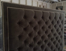Load image into Gallery viewer, Diamond Tufted With Double Nailhead Border in Dark Grey Velvet(Queen, Extra Tall) - Handcrafted by Samantha