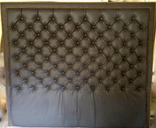 Load image into Gallery viewer, Diamond Tufted Grey Faux Leather With Double Nailhead Border (King, Extra Tall) - Handcrafted by Samantha