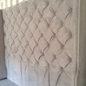 Diamond Tufted Grey Velvet Wingback Headboard and Bed Frame  (King, Extra Tall)