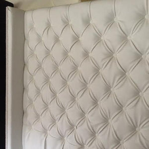 Diamond Tufted Faux Leather Wingback Headboard (Queen, Extra Tall)