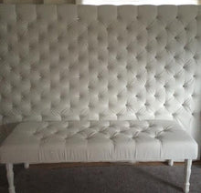 Load image into Gallery viewer, Extra-Wide King Crystal Diamond Tufted Headboard and Bench Set in White Velvet (Wide King, Extra Tall) - Handcrafted by Samantha