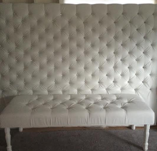 Extra-Wide King Crystal Diamond Tufted Headboard and Bench Set in White Velvet (Wide King, Extra Tall) - Handcrafted by Samantha
