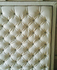 Crystal Button Diamond Tufted Faux Leather Headboard With Double Nailhead Border (King, Extra Tall)