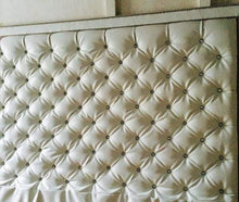 Load image into Gallery viewer, Crystal Button Diamond Tufted Faux Leather Headboard With Double Nailhead Border (King, Extra Tall)