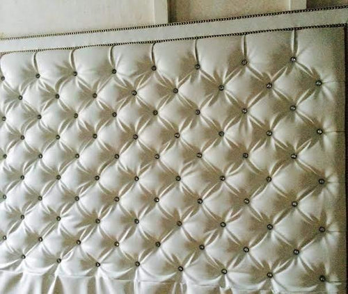 Crystal Button Diamond Tufted Faux Leather Headboard With Double Nailhead Border (King, Extra Tall) - Handcrafted by Samantha