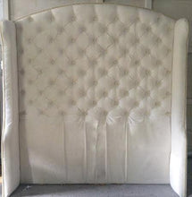 Load image into Gallery viewer, Diamond Tufted Slightly Arched Wingback Headboard in Ivory Velvet (Queen, Extra tall) - Handcrafted by Samantha