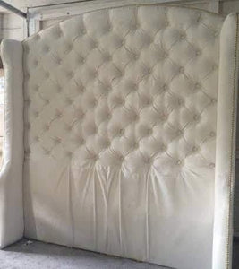 Diamond Tufted Slightly Arched Wingback Headboard in Ivory Velvet (Queen, Extra tall) - Handcrafted by Samantha