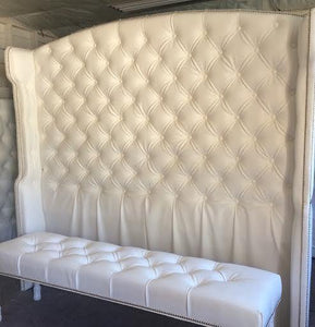 Diamond Tufted Slightly Arched Wingback Headboard and Bench Set (King, Extra Tall) - Handcrafted by Samantha