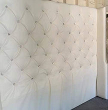 Load image into Gallery viewer, Diamond Tufted Faux Leather Wingback Headboard with Crystal Buttons (King, Extra Tall)