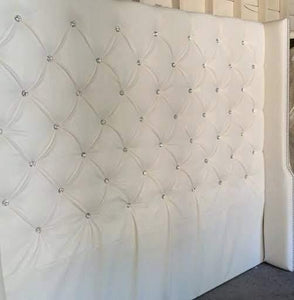 Diamond Tufted Faux Leather Wingback Headboard with Crystal Buttons (King, Extra Tall) - Handcrafted by Samantha