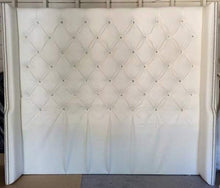 Load image into Gallery viewer, Diamond Tufted Faux Leather Wingback Headboard with Crystal Buttons (King, Extra Tall) - Handcrafted by Samantha