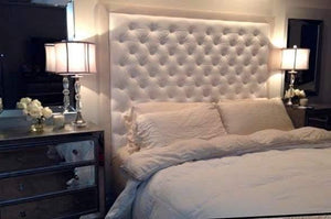 Diamond Tufted Faux Leather Headboard with Contrasting Border and Bed Frame  (King, Extra Tall) - Handcrafted by Samantha