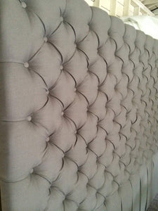 Diamond Tufted Light Grey Linen Headboard with Small Buttons (King, Extra Tall)