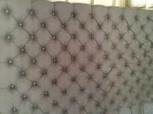 Load image into Gallery viewer, Diamond Tufted Light Grey Linen Headboard with Small Buttons (King, Extra Tall)