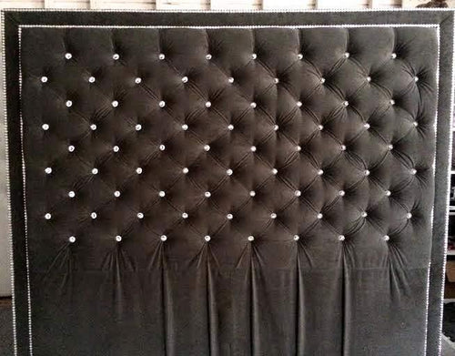 Crystal Button Tufted Velvet Headboard with Double Crystal Nailhead Border (King, Extra Tall)