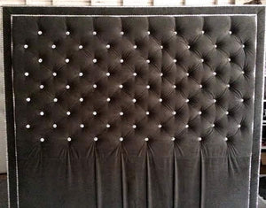 Crystal Button Tufted Velvet Headboard with Double Crystal Nailhead Border (King, Extra Tall) - Handcrafted by Samantha