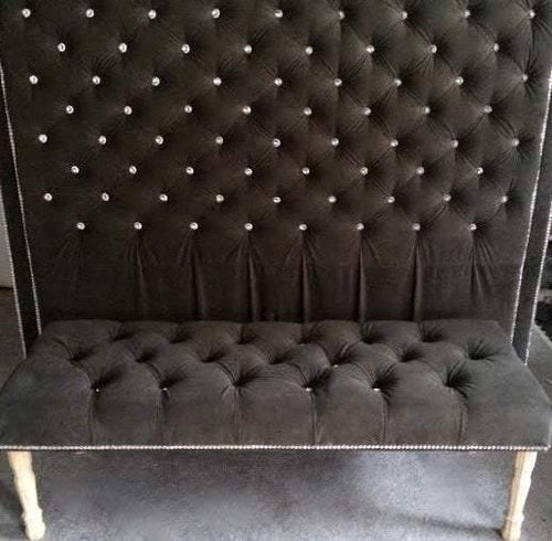 Crystal Button Tufted Velvet Headboard with Double Crystal Nailhead Border and Bench Set (King, Extra Tall) - Handcrafted by Samantha
