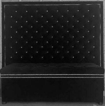 Crystal Button Tufted Velvet Headboard with Double Crystal Nailhead Border and Storage Bench Set (King, Extra Tall) - Handcrafted by Samantha