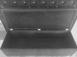 Crystal Diamond Tufted Storage Bench - Handcrafted by Samantha