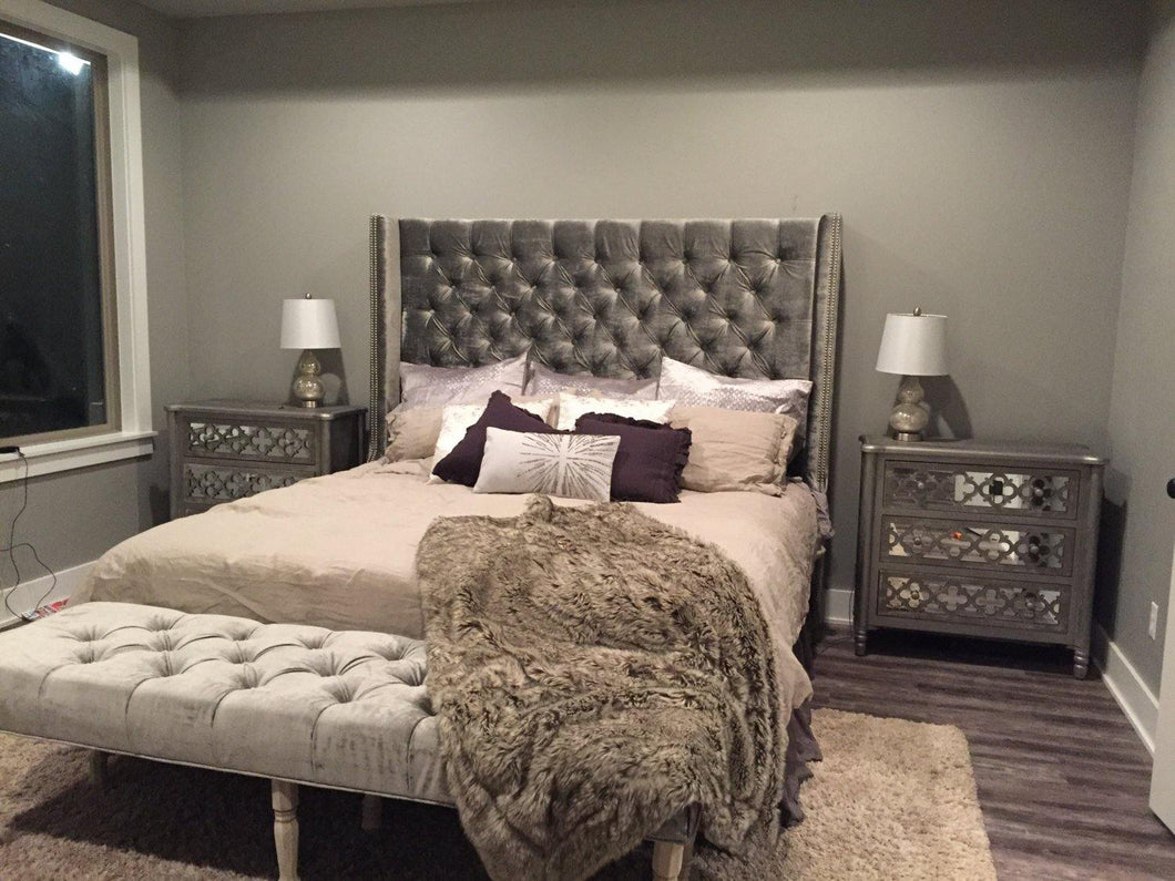 Diamond Tufted Wingback Headboard (King, Extra Tall) - Handcrafted by Samantha