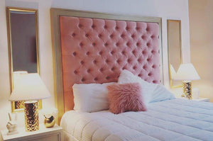 Tufted Headboard with Gold Frame