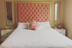 Tufted Headboard with Gold Frame - Handcrafted by Samantha