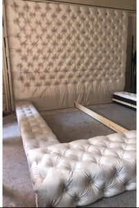 Velvet tufted oversized bed