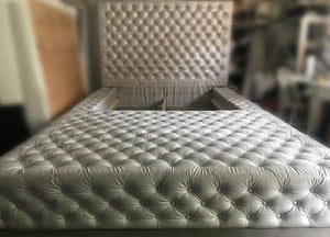 Diamond tufted oversized bed with extended ottoman