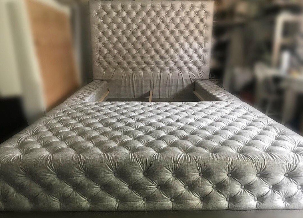 Diamond tufted oversized bed with extended ottoman - Handcrafted by Samantha