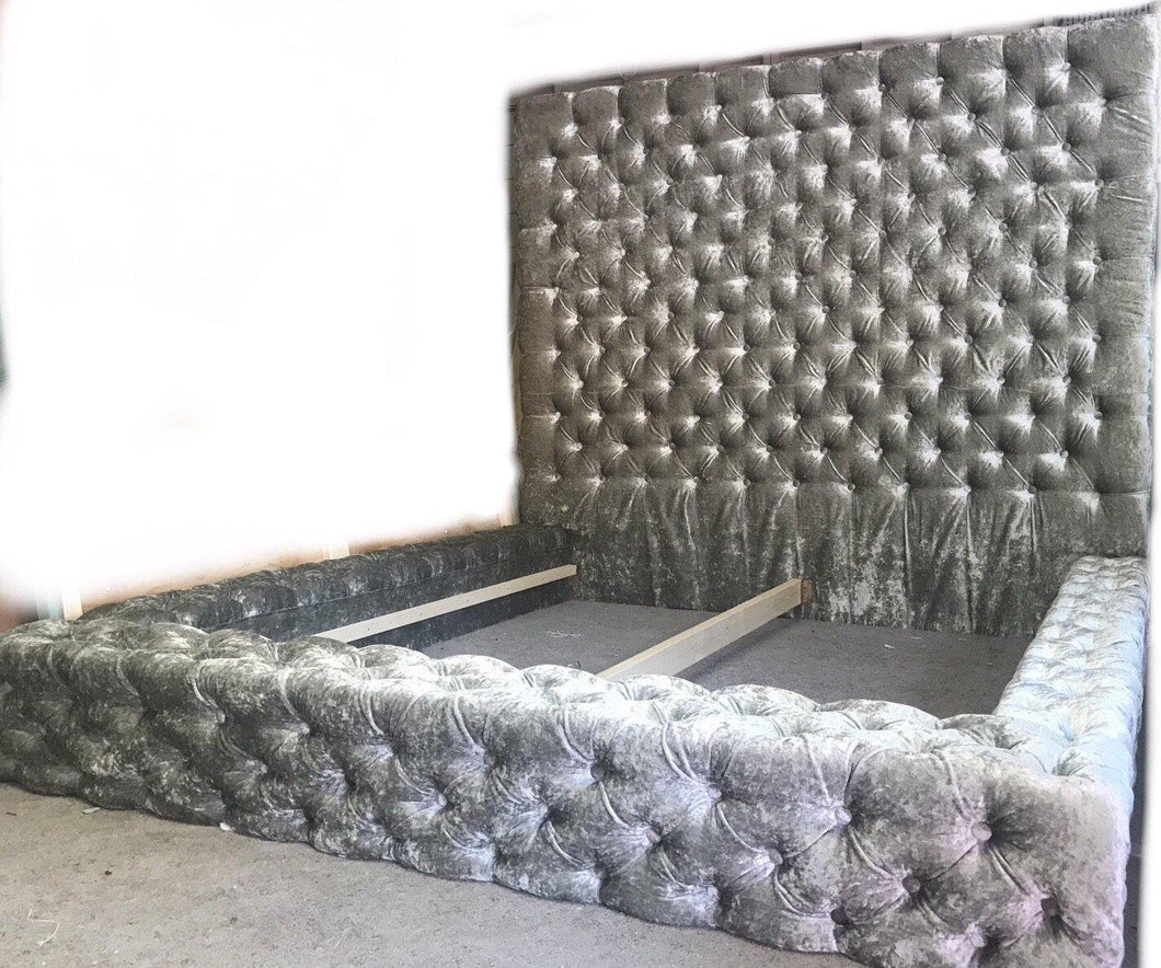 Crushed Velvet tufted oversized bed
