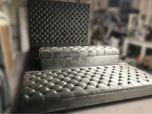Velvet tufted oversized bed with storage bench and ottoman