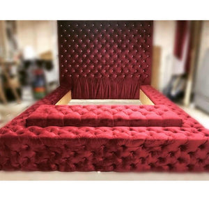 Extra tall Tufted Headboard + Bed with Storage Bench and Ottoman