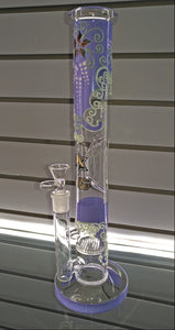 Glow-in-the-Dark Floral Double Honeycomb Straight Bong by Nice Glass