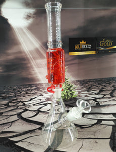 Red Glycerin Detachable Freezable Coil Bong by Envy Glass