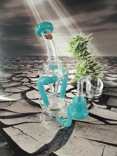 2 Line Hourglass Recycler by Red Eye Glass