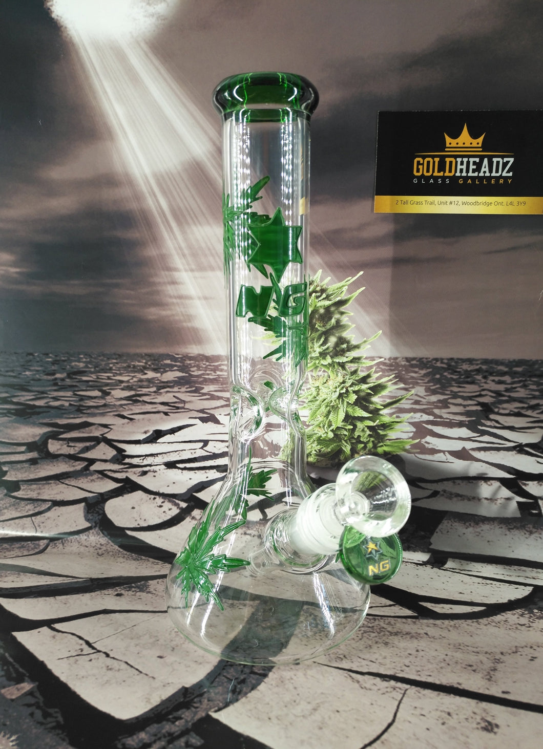 3D Weed Leaf Beaker Bong by Nice Glass