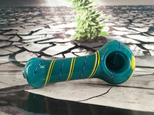 Blue & Yellow Twist Pipe by Legendary Glass