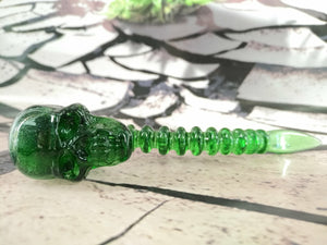 Green Skull Spine Dabber by Scoz Glass