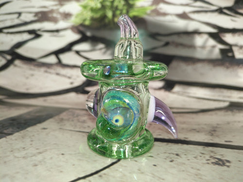 Green/Purple Mutant Skull Carb Cap by Ghost Cat Glass