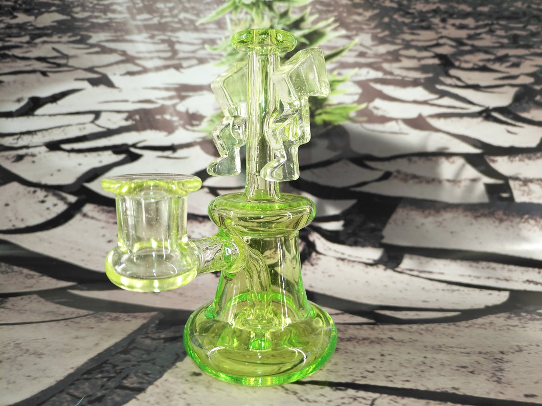 Lightning Green Mini Dab Rig by K.O.A Glass