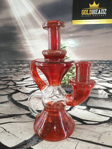 Red Hourglass Recycler by Happy Time Glass