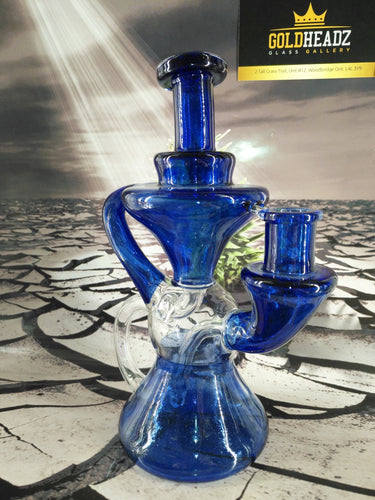 Blue Hourglass Recycler by Happy Time Glass
