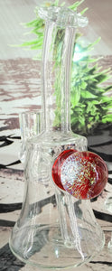Red Fireworks Dab Rig w/ Carb Cap by Pied Piper Glass