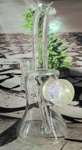Purple Fireworks Dab Rig w/ Carb Cap by Pied Piper Glass