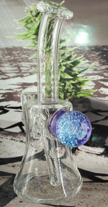 Blue Fireworks Dab Rig w/ Carb Cap by Pied Piper Glass