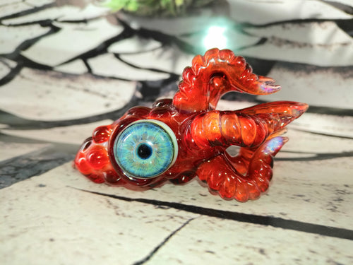 Magma Red Kraken Pendant by Krakenz Glass
