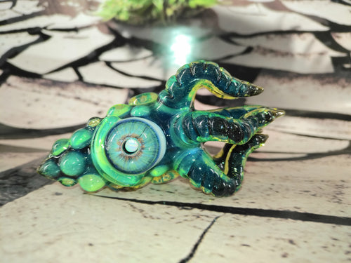 Deep Sea Blue/Green Kraken Pendant by Krakenz Glass